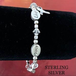 STERLING SILVER INSPIRATION CHARM RIBBON BRACELET